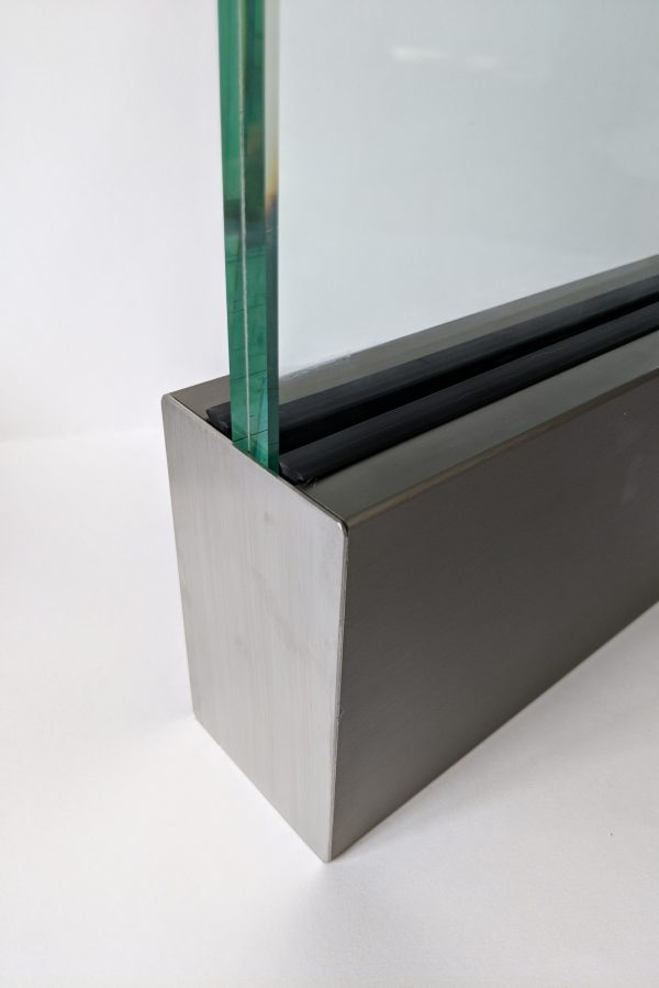 aluminox Solus frameless balustrade channel with end cap