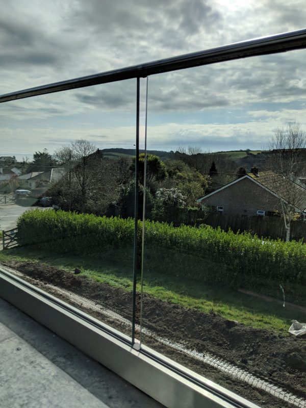 Aluminox glass balustrade installed in near St Austell in Cornwall