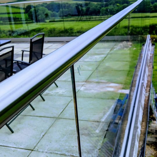 view of the frameless glass balustrade aluminox