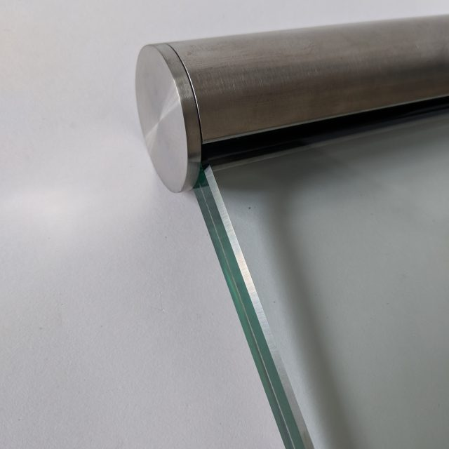 Aluminox Stainless steel slotted handrail for use on frameless glass balustrades