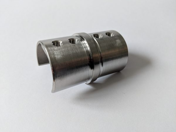 Aluminox Slotted handrail connector fitting glass balustrade