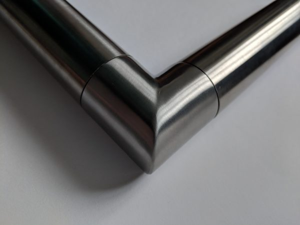 Aluminox Slotted handrail corner for frameless glass balustrade