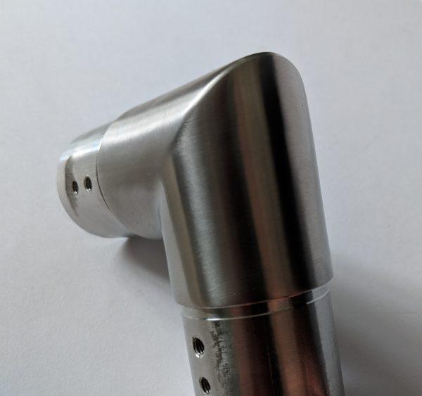 Aluminox Slotted vertical 90 handrail fitting glass balustrade