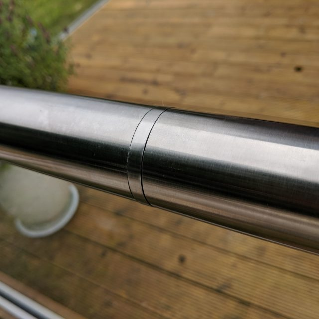 Aluminox Slotted handrail connector for use on frameless glass balustrades