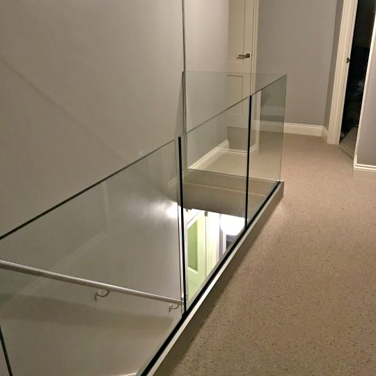 frameless glass balustrade landing aluminox